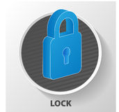 Flat lock with keyhole for safeguard. Vector illustration of sec. Urity concept with locked blue combination pad flat lock Royalty Free Illustration