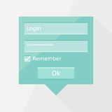 Flat login form Stock Image