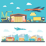 Flat logisticequipment and delivery service Royalty Free Stock Images
