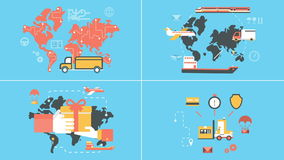 Flat logistics and delivery animated concepts stock footage