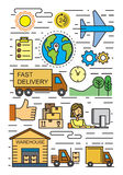 Flat logistics and delivery. Vector black flat logistics and delivery icons on white Stock Images