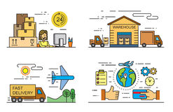 Flat logistics and delivery. Vector black flat logistics and delivery icons on white Royalty Free Stock Images