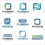 Flat logo design for plumbing company. Vector templates logos plumbing with text Royalty Free Stock Photos