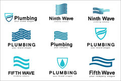 Flat logo design for plumbing company. Vector templates logos plumbing with text Stock Photos