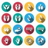 Flat long shadow charity icon set.vector. Stock Photos