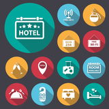 Flat long shadow hotel icon set.Vector/eps10. Royalty Free Stock Photos