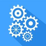Flat long shadow icon of gears, stock vector illustration. Eps 10 stock illustration