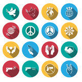 Flat long shadow peace icons set. Royalty Free Stock Photo