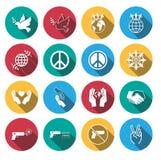 Flat long shadow peace icons set. Royalty Free Stock Photo