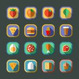 Flat long shadow rounded food icons. Vector illustration. Stock Photos
