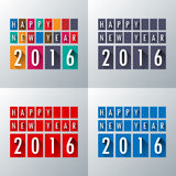 Flat long shadow set.Happy new 2016 year. Greetings card. Colorf. Ul design. Vector illustration Stock Image