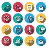 Flat long shadow tax and money icons set.vector. illustration.  Royalty Free Stock Photo