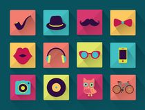Flat Long Shadowed Hipster icons Stock Images