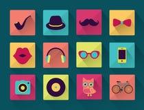 Flat Long Shadowed Hipster icons. Vector Flat Long Shadowed Hipster icons Stock Images