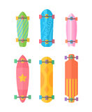 Flat longboards colorful set Royalty Free Stock Photos
