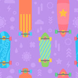 Flat longboards seamless pattern Royalty Free Stock Photos