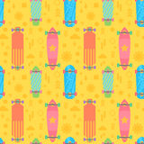 Flat longboards seamless pattern Royalty Free Stock Photo