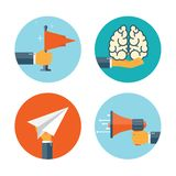 Flat loudspeaker icon. Administrative management concept. Business aims solutions. Teamwork brainstorm.