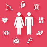 Flat Love Concept Royalty Free Stock Photography
