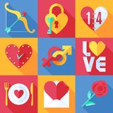 Flat Love Icons Stock Photography
