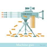 Flat machine gun with machine-gun belt and sleeve  Stock Image