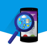 Flat magnifier with seo icons. Web sites and applications. Flat Royalty Free Stock Photos
