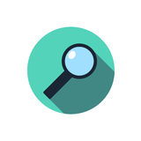 Flat magnifying glass icon. Question with a long shadow. Icon in the circle Royalty Free Stock Images