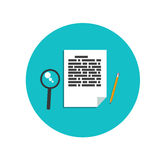 Flat magnifying glass with page and pencil Stock Photography