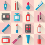 Flat makeup and cosmetics icons set Stock Images
