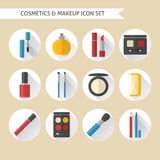 Flat makeup and cosmetics icons set Royalty Free Stock Image