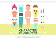 Flat Male Character Creation Set Royalty Free Stock Photo