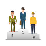 Flat male characters on white podium Stock Photos
