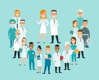 Flat male female doctors nurses medical team healt. Flat male and female doctors healthcare illustration people cartoon characters icon set. Health care hospital vector illustration