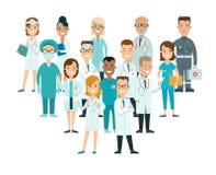 Flat male female doctors nurses medical team healt. Flat male and female doctors healthcare illustration people cartoon characters icon set. Health care hospital royalty free illustration