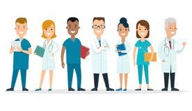 Flat male female doctors nurses medical team healt. Flat male and female doctors healthcare illustration people cartoon characters icon set. Health care hospital stock illustration