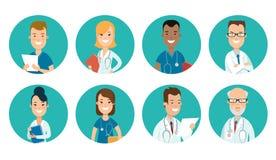 Flat male female doctors nurses medical team healt. Flat male and female doctors healthcare illustration people cartoon avatar profile characters icon set royalty free illustration