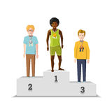 Flat male winnings athletes with medals on white podium Stock Images