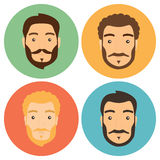 Flat Man with Beard Hipster Icons Set Stock Image