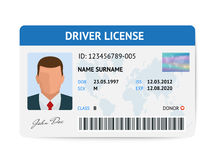 Flat man driver license plastic card template, id card vector illustration Royalty Free Stock Photo
