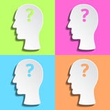 Flat man's head with question mark inside Royalty Free Stock Photo