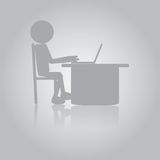 Flat Man Working with Laptop Royalty Free Stock Photography