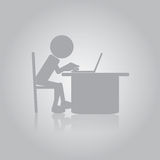 Flat Man Working with Laptop Royalty Free Stock Photo