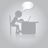 Flat Man Working with Laptop Stock Image