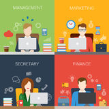 Flat management marketing secretary people at office workplace Stock Image
