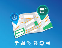 Flat map and location icons set Stock Photos