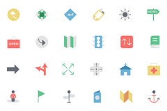 Flat Map and Navigation Colored Icons 5 Stock Images
