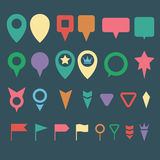 Flat map pins color set Royalty Free Stock Photography