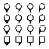 Flat map pins sign black location icon with shadow Stock Photo