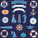 Flat marine set Stock Images