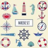 Flat marine set Royalty Free Stock Photography